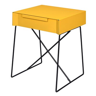 Glidewell Retro Styled End Table Color: Yellow