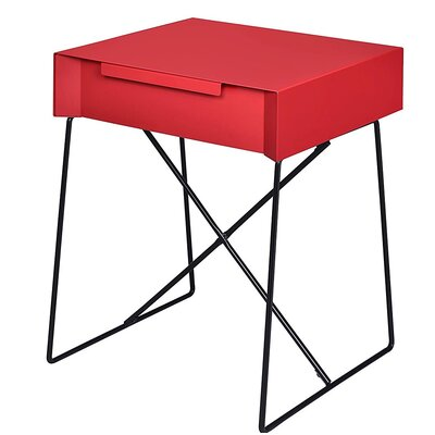 Glidewell Retro Styled End Table Color: Red