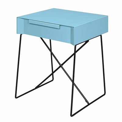 Glidewell Retro Styled End Table Color: Light Blue