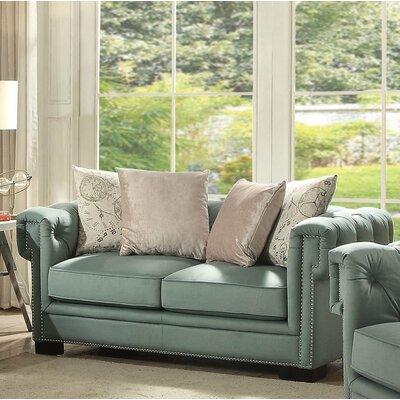 Lessman Loveseat Upholstery: Green