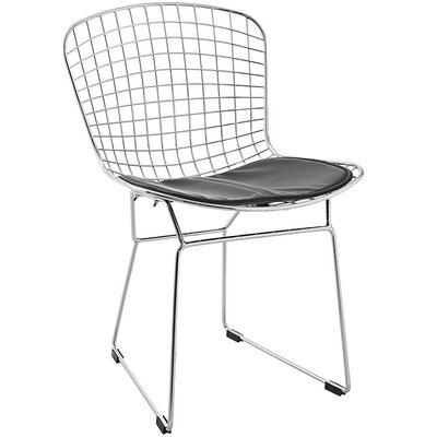 Bertoia Inspired Side Chair Upholstery: Black