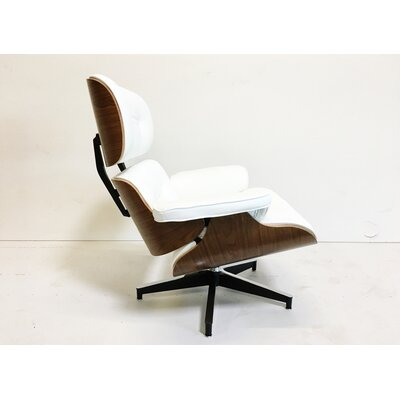 East Lounge Swivel Leather Recliner with Ottoman Upholstery: White, Finish: Rosewood