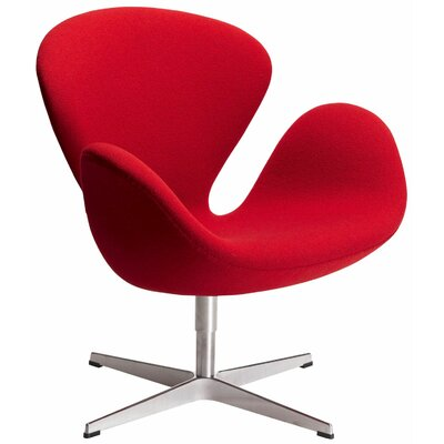Swan Lounge Chair Upholstery: Red