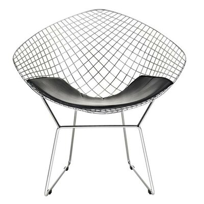 Bertoia Inspired Papasan Chair Upholstery: Black