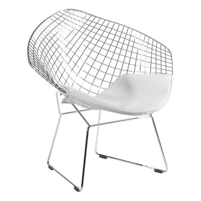 Modern Wire Style Papasan Chair Upholstery: White