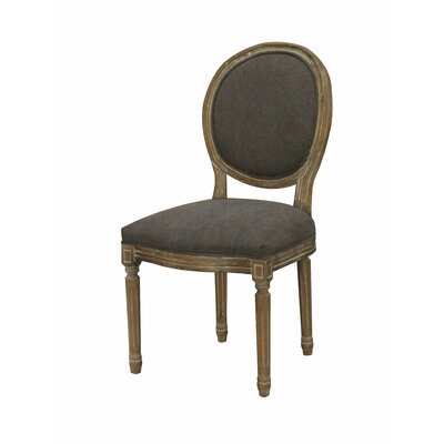 Galaxy French Louis Oval dining Chair Upholstery: Gray/Brown