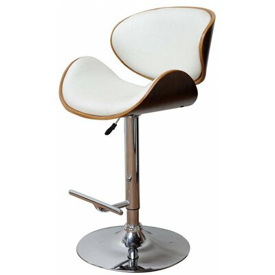 Sunshine Adjustable Height Swivel Bar Stool Upholstery: White