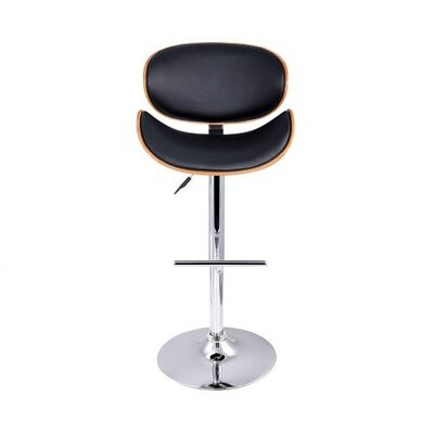 Sunshine Adjustable Height Swivel Bar Stool Upholstery: Black