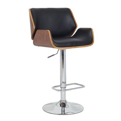 Tamworth Adjustable Height Swivel Bar Stool Upholstery: Black