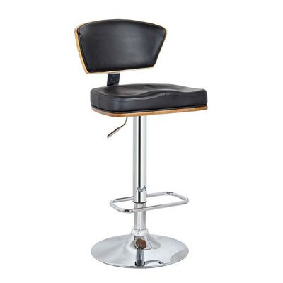 Verona Adjustable Height Swivel Bar Stool Upholstery: Black