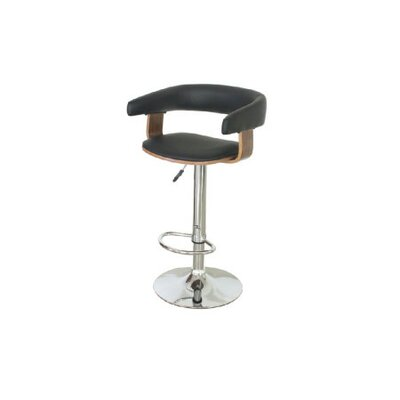 Allana Adjustable Height Swivel Bar Stool Upholstery: Black