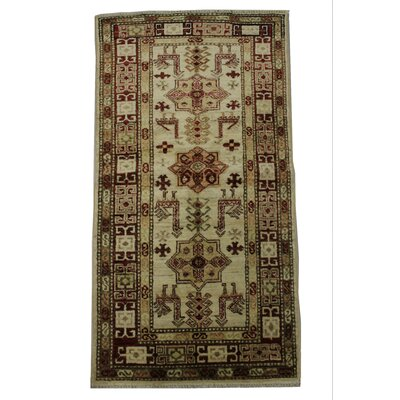 Andrade Handmade Tan/Red Area Rug