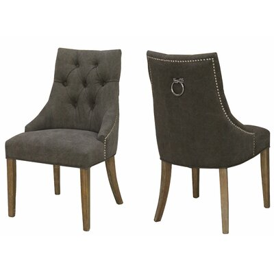 Alberta Nailhead Side Chair Upholstery: Gray