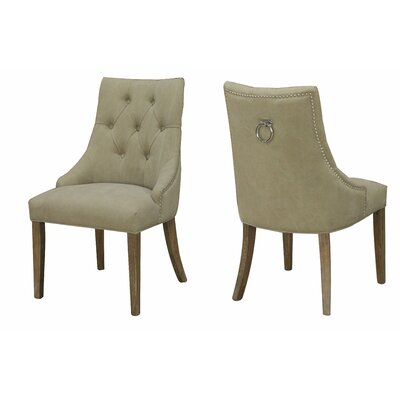 Alberta Nailhead Side Chair Upholstery: Beige
