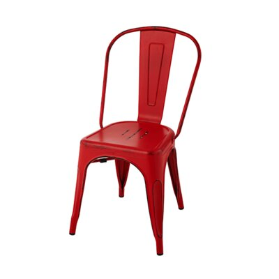 Chiara Industrial Stackable Dining Chair Color: Red