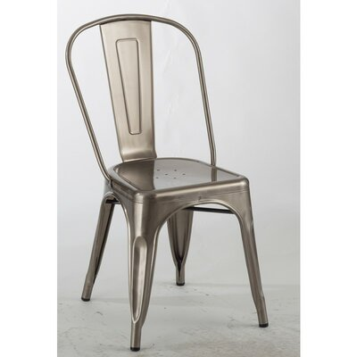 Chiara Industrial Stackable Dining Chair Color: Gunmetal Clear