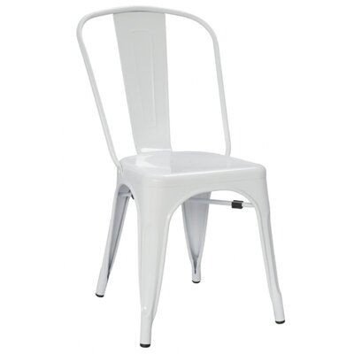 Chiara Industrial Stackable Dining Chair Color: White
