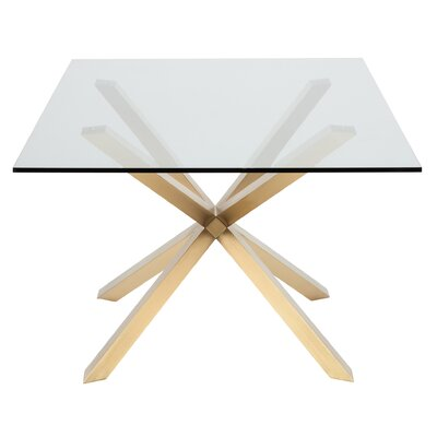 Rebecka Glass Dining Table Color: Gold