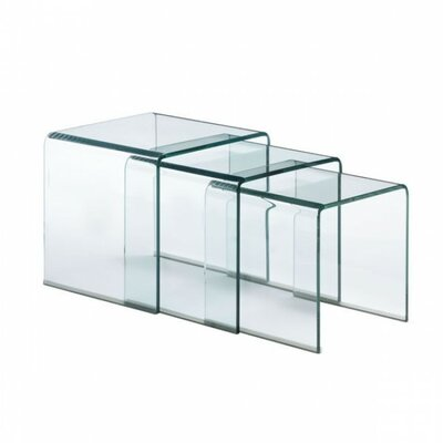 Elle Glass 3 Piece Nesting Tables