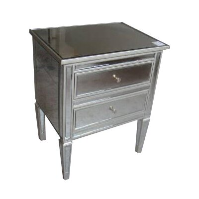 Jessa Mirrored 2 Drawer Nightstand