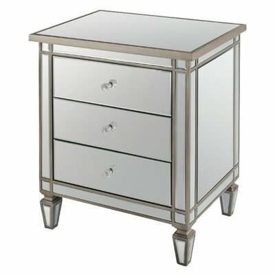Henley Mirrored 2 Drawer Nightstand