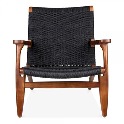 Wood Armchair Upholstery: Black