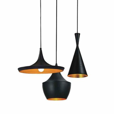 Candelario 3 Light Cluster Pendant Finish: Black
