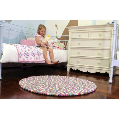 Happy as Larry Sorbet Felt Ball Kids Rug Rug Size: Round 34