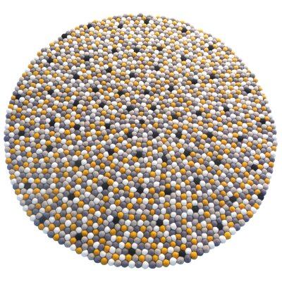 Happy as Larry Sunshine Felt Ball Kids Rug Rug Size: Round 5