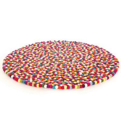 Happy as Larry Original Felt Ball Kids Round Rug Rug Size: Round 510