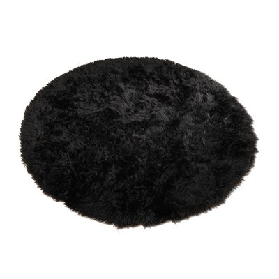 Animal Black Area Rug Rug Size: Round 47