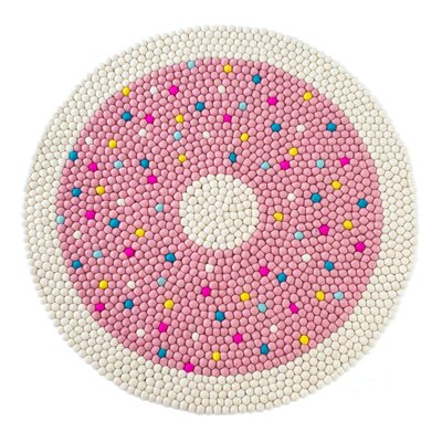 Happy as Larry Doughnut Felt Ball Rug