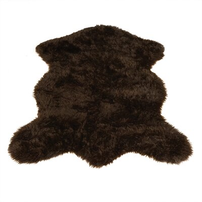 Animal Pelt Faux Sheepskin Brown Area Rug Rug Size: Novelty 47 x 67