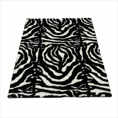 Animal Zebra Black/White Spine Area Rug Rug Size: 47 x 67