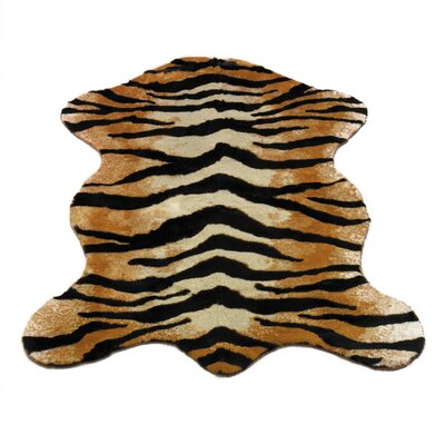 Animal Gold/BlackTiger Area Rug Rug Size: Pelt 47 x 67