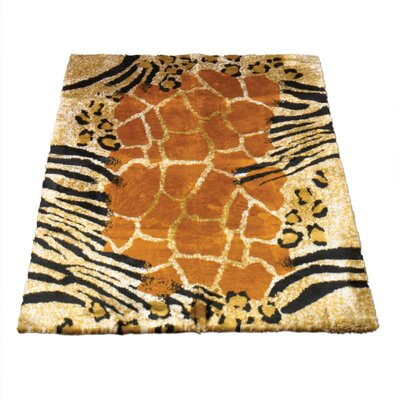 Animal Black/Brown Safari Print Area Rug Rug Size: 33 x 47