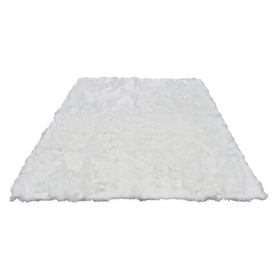 Rashud Faux Fur White Area Rug Rug Size: Rectangle 6 x 9