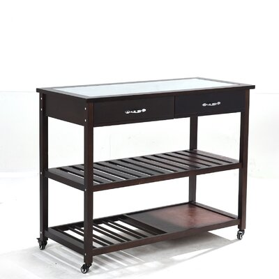 Kitchen Island with Glass Top Base Finish: Cherry
