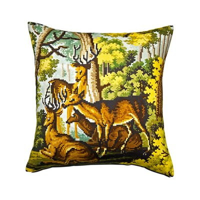 Deer Cross-Stitch Cotton Throw Pillow