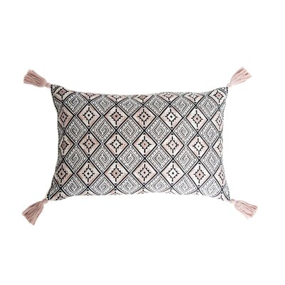 Nahuala Cotton Lumbar Pillow Color: Black