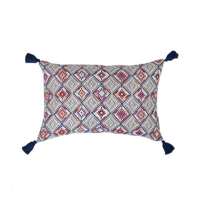 Nahuala Cotton Lumbar Pillow Color: Navy