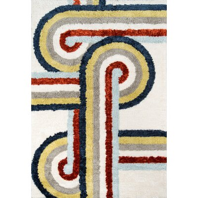 Turnstyle Hand-Tufted White Area Rug Rug Size: Rectangle 76 x 96