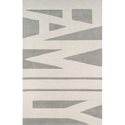 Family Wordplay Hand-Tufted Gray Area Rug Rug Size: Rectangle 5 x 8