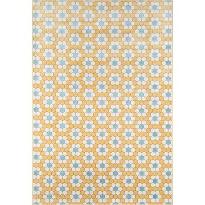 Hex Tile Indoor/Outdoor Yellow Area Rug Rug Size: Runner 23 x 76