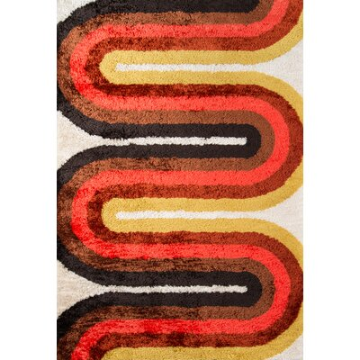 Retro Wave Hand-Tufted Red Area Rug Rug Size: 36 x 56