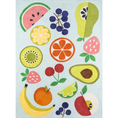 Vintage Fruit Seafoam Hand-Tufted Light Blue Area Rug Rug Size: 76 x 96