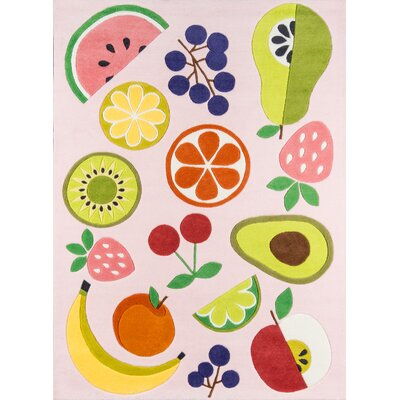 Vintage Fruit Hand-Tufted Pink Area Rug Rug Size: Rectangle 76 x 96
