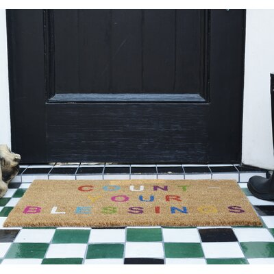 Aloha Blessings Doormat Color: Brown/Blue/Purple