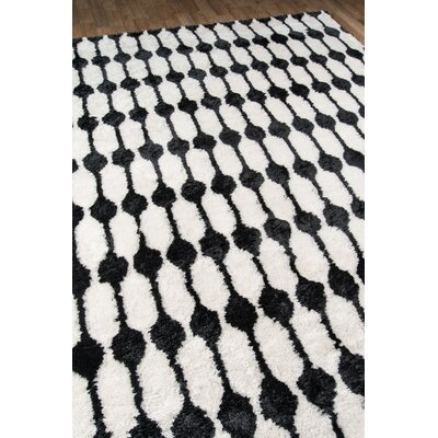 Stockings Hand-Tufted Black/White Area Rug Rug Size: 76 x 96
