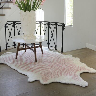 Khalhari Hand-Tufted Faux Fur Pink Area Rug Rug Size: Rectangle 36 x 56
